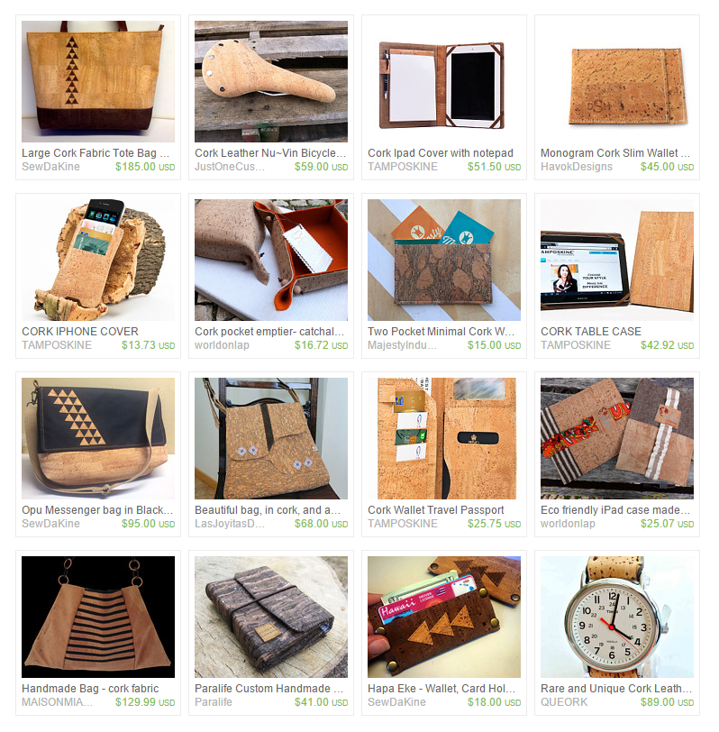 Treasury of Handmade items made with Cork Fabric! Get your cork fabric at thefabricmarket.com!
