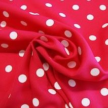 White Dot Gabardine - Hot Pink