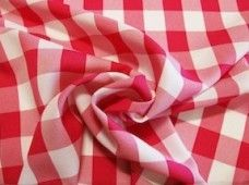 Large Gingham Gabardine - Hot Pink