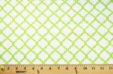 Lattice Flannel - White & Lime
