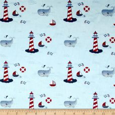 Lighthouse Toile - Light Blue