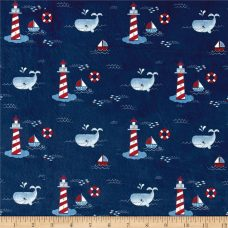 Lighthouse Toile - Navy