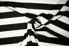 Large Black & Ivory Stripe Interlock Poly Knit