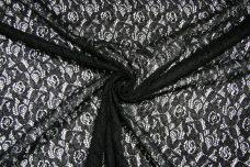 Black Floral Poly/Cotton Knit Lace