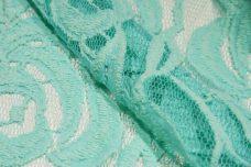 Large Aquamarine Rose Cotton/Poly Knit Lace