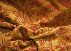 Large Red & Gold Damask Chenille
