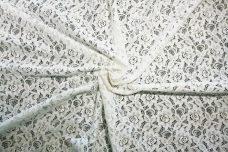 White Floral Cotton/ Poly Knit Lace