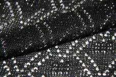 Black and Metallic Silver Knit Poly/Cotton Lace