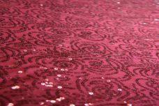 Wine Floral Sequin Spandex