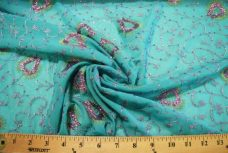 Floral Sequin Chiffon - Turquoise