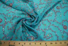 Flourish Sequin Chiffon - Turquoise