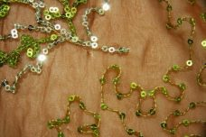 Floral Sequin Chiffon - Brown & Green