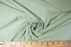 Green & Ivory Cotton Twill Chambray Stripe