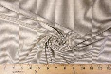 Brown Striped Stretch Cotton Chambray
