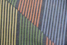 Dark Denim Chambray with Multi Colored Stripes