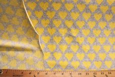 French Terry Hearts - Light Yellow & Grey