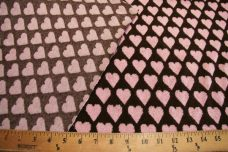 French Terry Hearts - Light Pink & Brown