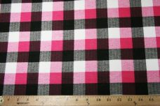 Large Gingham Stretch Knit - Hot Pink
