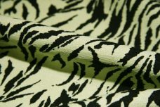 Light Green & Black Zebra Print Poly/Linen Blend