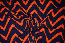 Grunge Chevron Spandex - Navy & Tangerine