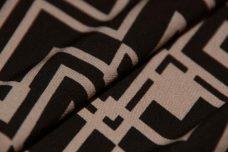 Black & Taupe Geometric Spandex