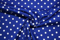 Royal & White Polkadot Stretch Poplin
