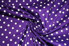Purple & White Polkadot Stretch Poplin