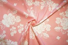 Large Light Pink Floral Stretch Poplin