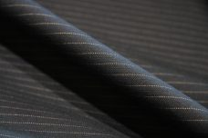 Black Herringbone Pinstripe Cotton Twill