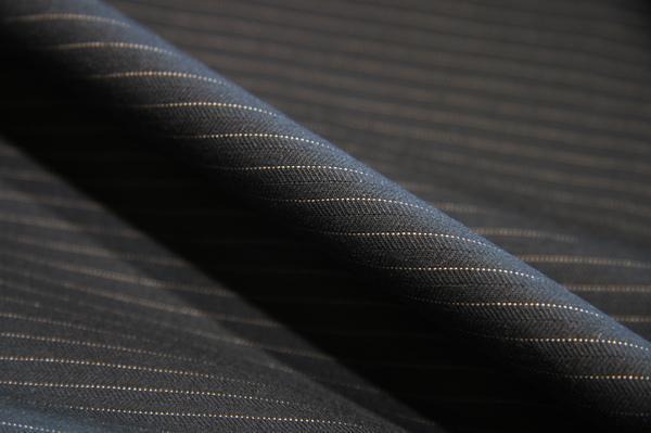 Black Herringbone Pinstripe Cotton Twill