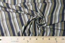 Navy & Gold Striped Cotton Poplin