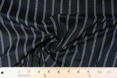 Black & White Printed Stitched Stripe Stretch Poplin