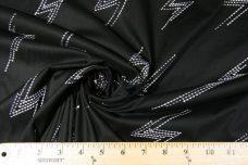 Black Embroidered Lightning Bolt Stretch Poplin