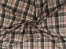 Brown Metallic Plaid Stretch Poplin