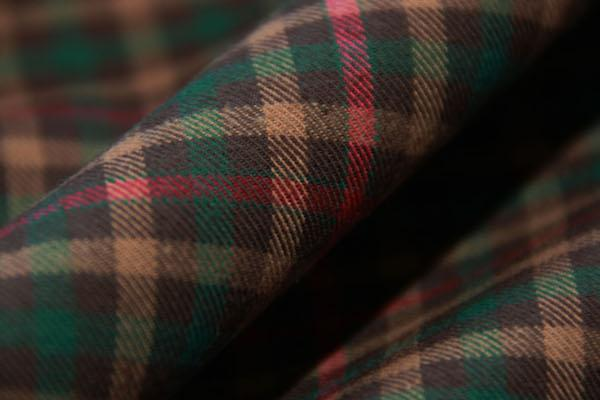 Brown & Red Gingham Plaid Twill