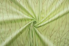 Abstract Embroidered Leaves Stretch Poplin