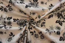 Ecru & Black Floral Stretch Poplin