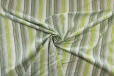 Green Various Metallic Chambray Stripe  Stretch Poplin