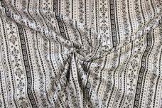 Black & White Floral Stripe Stretch Poplin