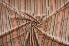 Peach & Brown Chambray Stripe Stretch Poplin