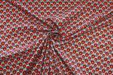 Red & Black Retro Floral Stretch Poplin