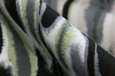 Charcoal & Green Grunge Stripe Stretch Poplin