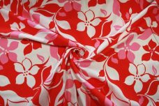 Large Red & Pink Hawaiian Stretch Poplin