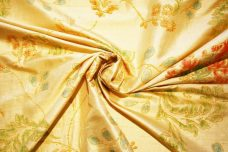 Light Gold Floral Dupioni Silk
