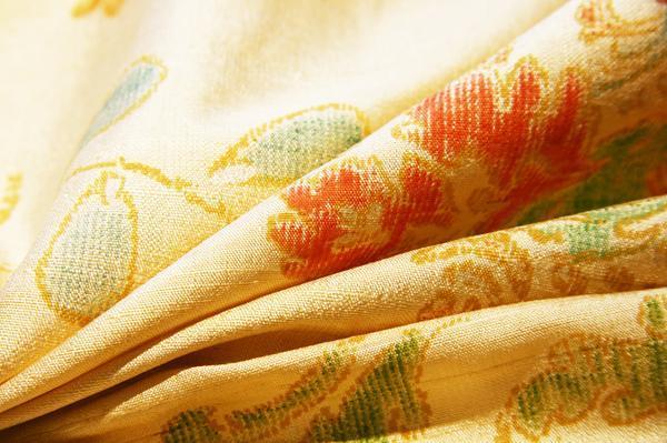 Light Gold Floral Dupioni Silk