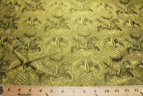 Gold & Black Ornate Pineapple Pattern Silk
