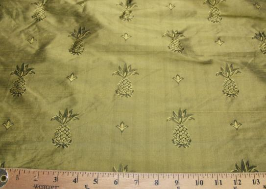 Gold & Black Pineapple Pattern Duponi Silk