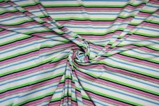 Lilac & Neon Lime Various Stripe Poly Knit