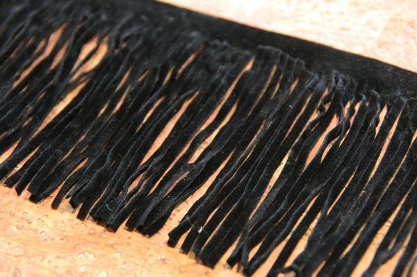 "3 1/2"" Double-sided Faux Suede Fringe - Black"