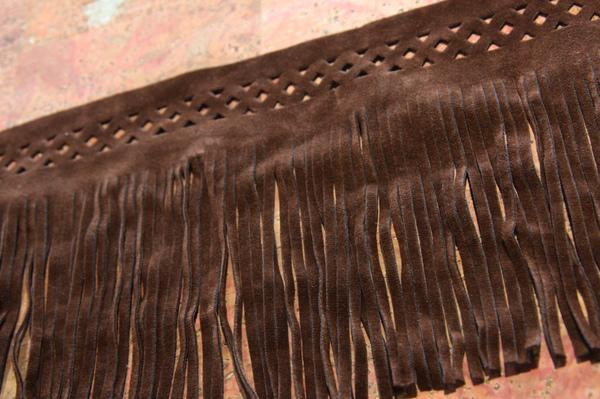 """5 1/8"""" Double-sided Bordered Faux Suede Fringe - Brown"""